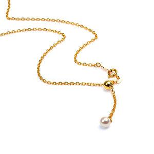 天然珍珠尾坠款可调节套扣十字O字纯银项链镀18K金色锁骨链毛衣链
