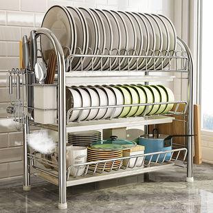 双层碗碟架落地碗架收纳架放碗盘沥水置物架厨房餐具用品家用大全