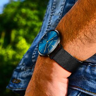 格雷曼超薄手表男士皮带时尚男表学生休闲手表钢带防水石英表男表