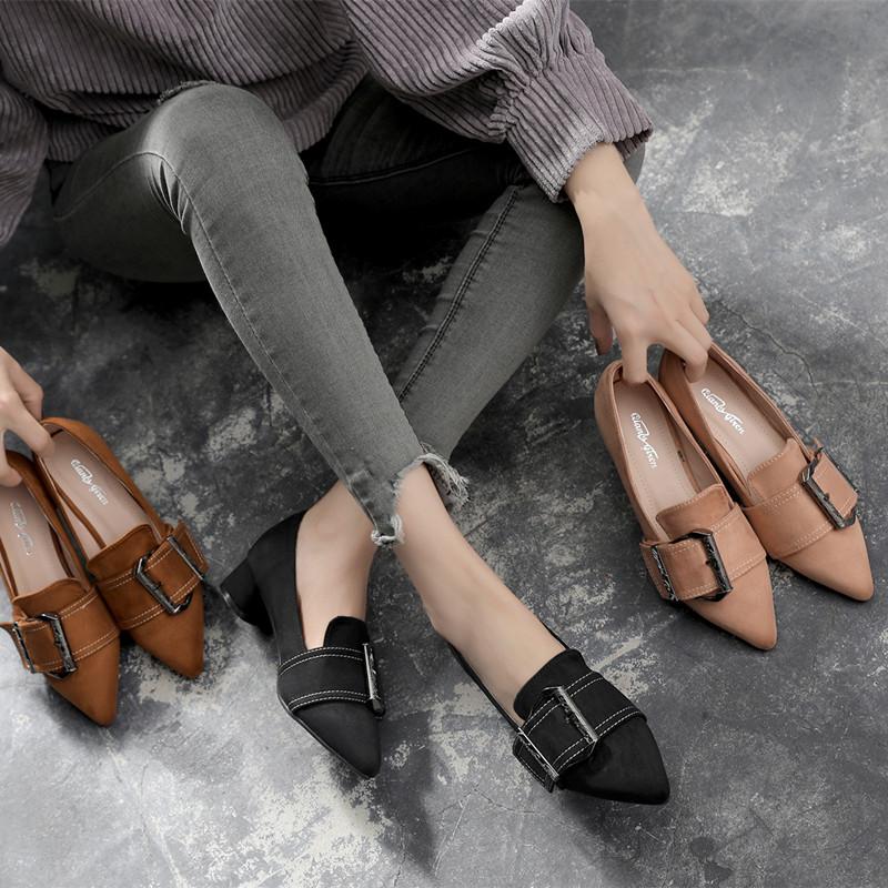 2017春秋季新款尖头高跟鞋复古中跟粗跟单鞋工作鞋黑色英伦风女鞋