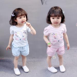 宝宝纯棉短袖套装女婴幼儿时髦猫咪上衣短裤两件套儿童洋气衣服夏