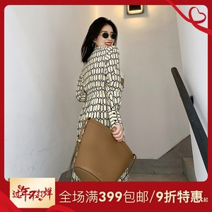 NANASTORE plaid dress female autumn and winter mid-length women's 2019 new wave casual long-sleeved shirt skirt