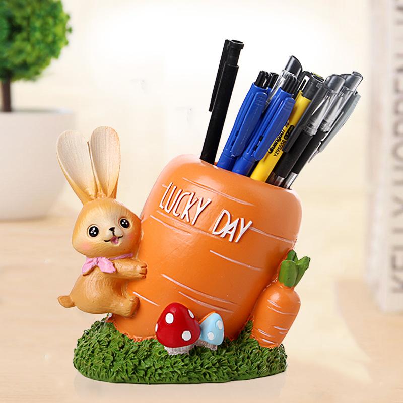 卡通田园小兔子树脂笔筒摆件创意家居学生礼品个性实用儿童房学业