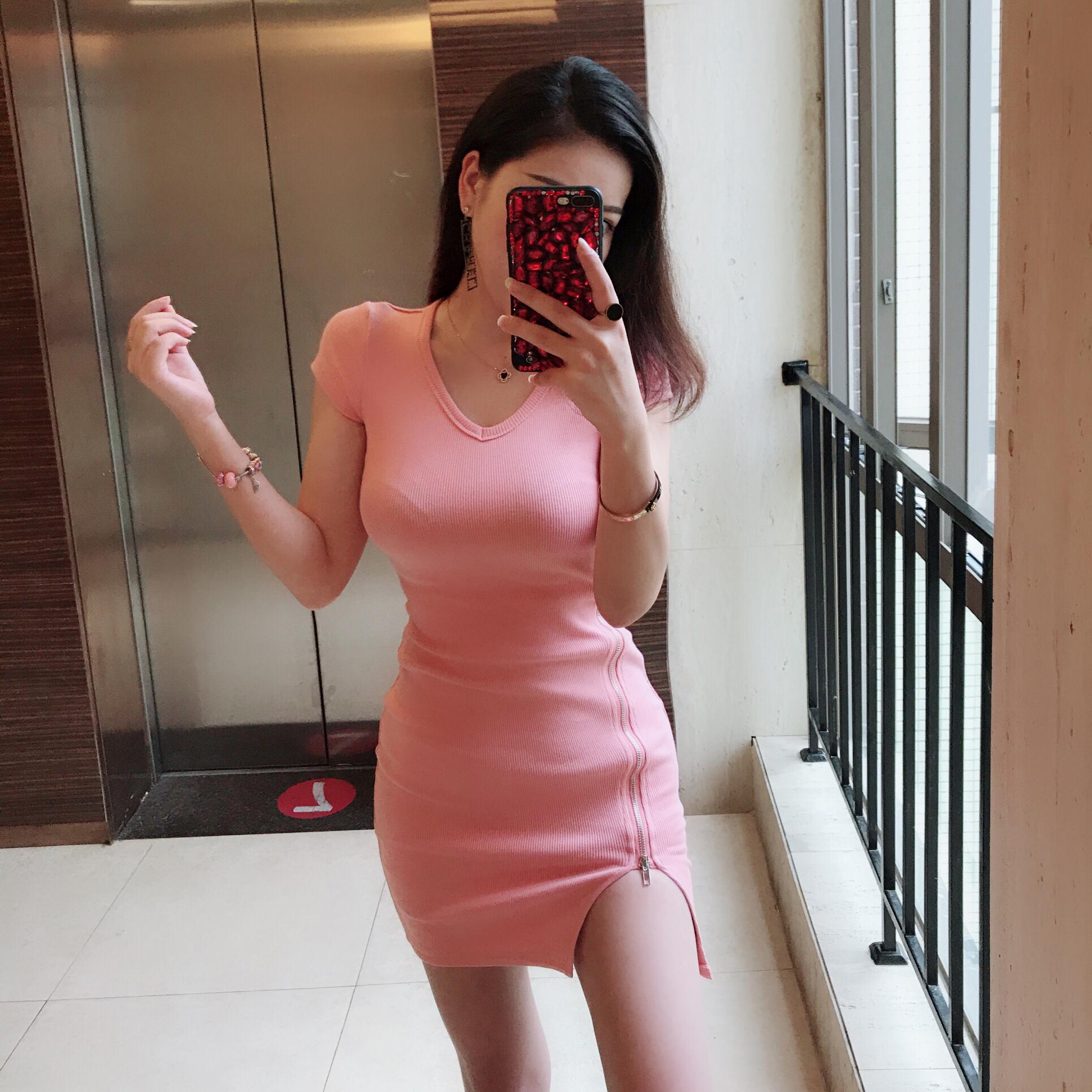 苗苗 自制 新款 短袖 拉链 开叉 紧身 性感 女人 连衣裙
