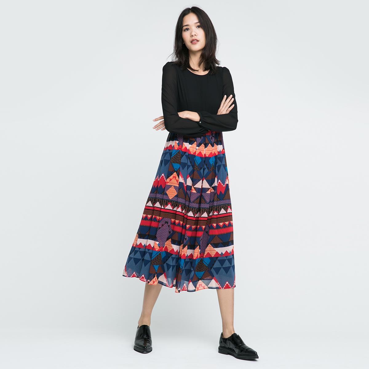 ONLY彩花拼接泡泡袖雪纺连衣裙女-116307519