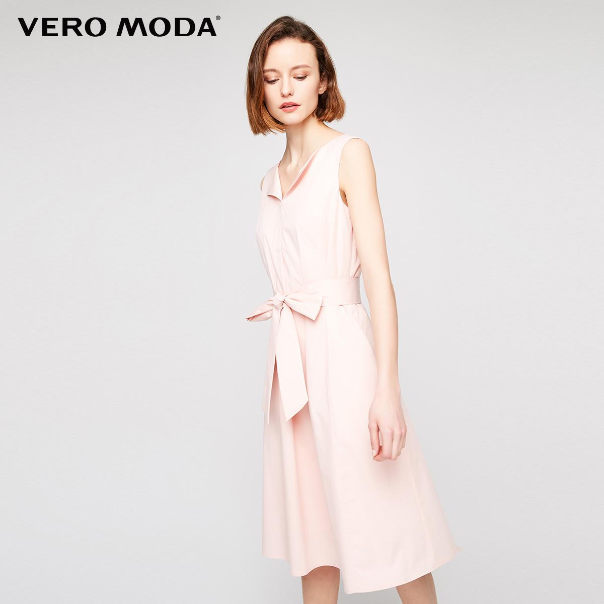[2件9折]Vero Moda新品V领系带连衣裙|31727A548