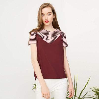 Vero Moda条纹圆领短袖T恤吊带两件套|317201512 拍下139元包邮
