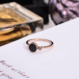 日韩版时尚精致玫瑰金戒指女款黑色圆形食指环戒子钛钢不褪色饰品