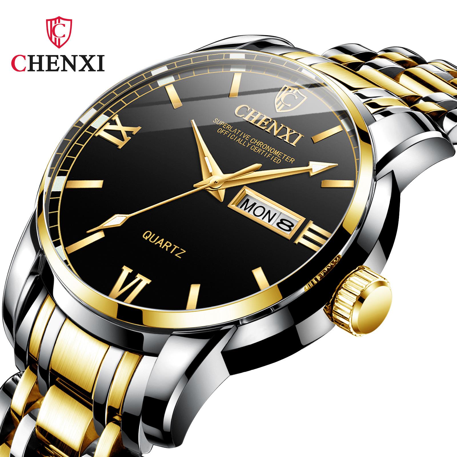 晨曦品质双日历夜光防水钢带正品牌男男士流行商务手表国产腕表