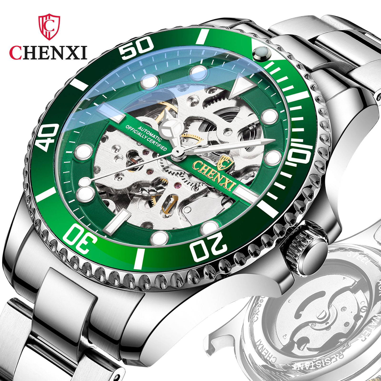 晨曦品牌水鬼流行镂空自动 跨境时尚防水男士手表机械表国产腕表