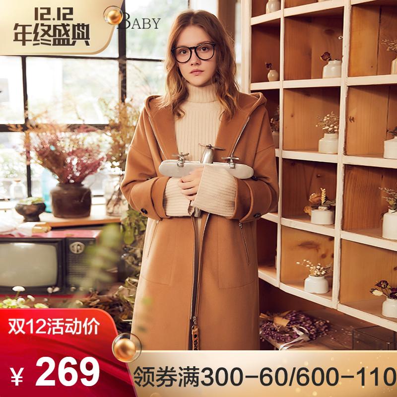 BANANA BABY冬季新款韩版宽松连帽毛呢外套女中长款