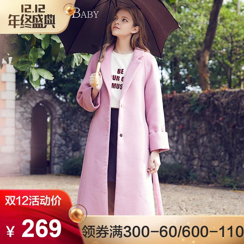 BANANA BABY秋冬新款韩版西装领毛呢大衣女长款直筒