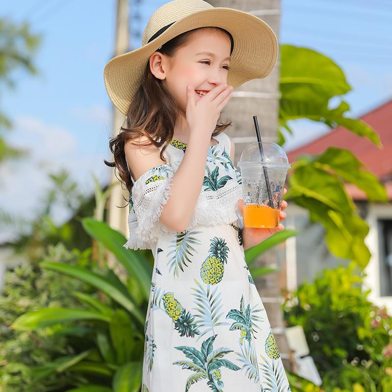 海滩新款百褶度假风露肩女童几何棉麻个性短袖