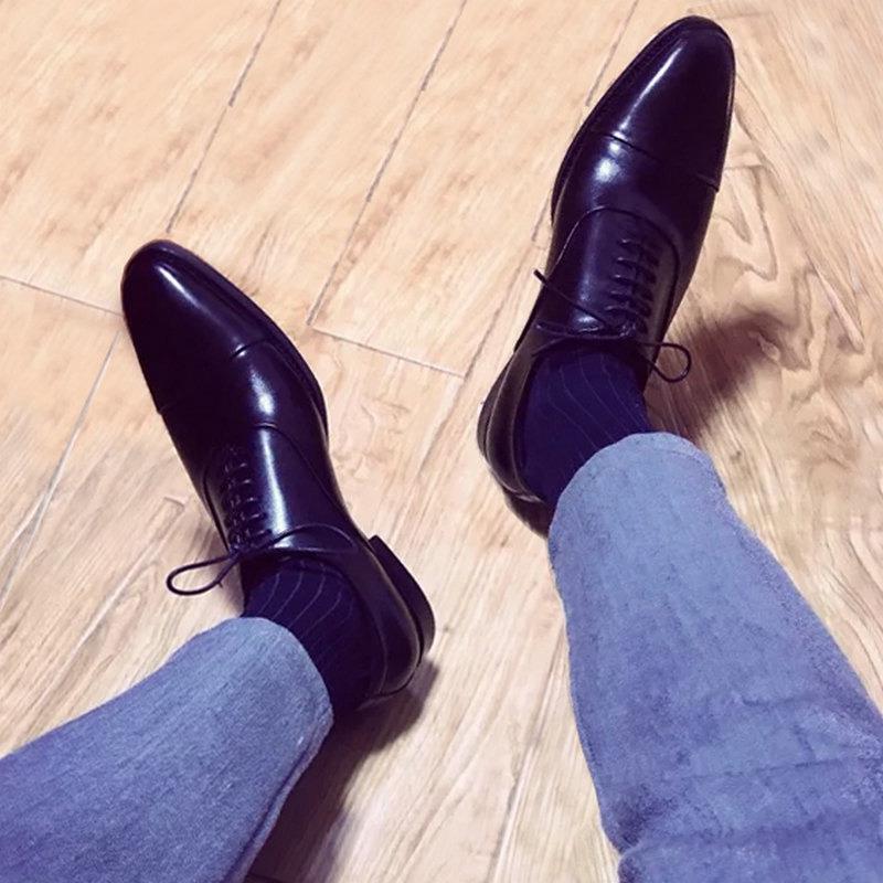 英伦三接头皮鞋真皮尖头商务正装牛津鞋35隐形内增高36小码男鞋37