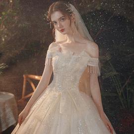 超仙星空主轻婚纱礼服2020新款新娘气质显瘦一字肩森系公主梦幻