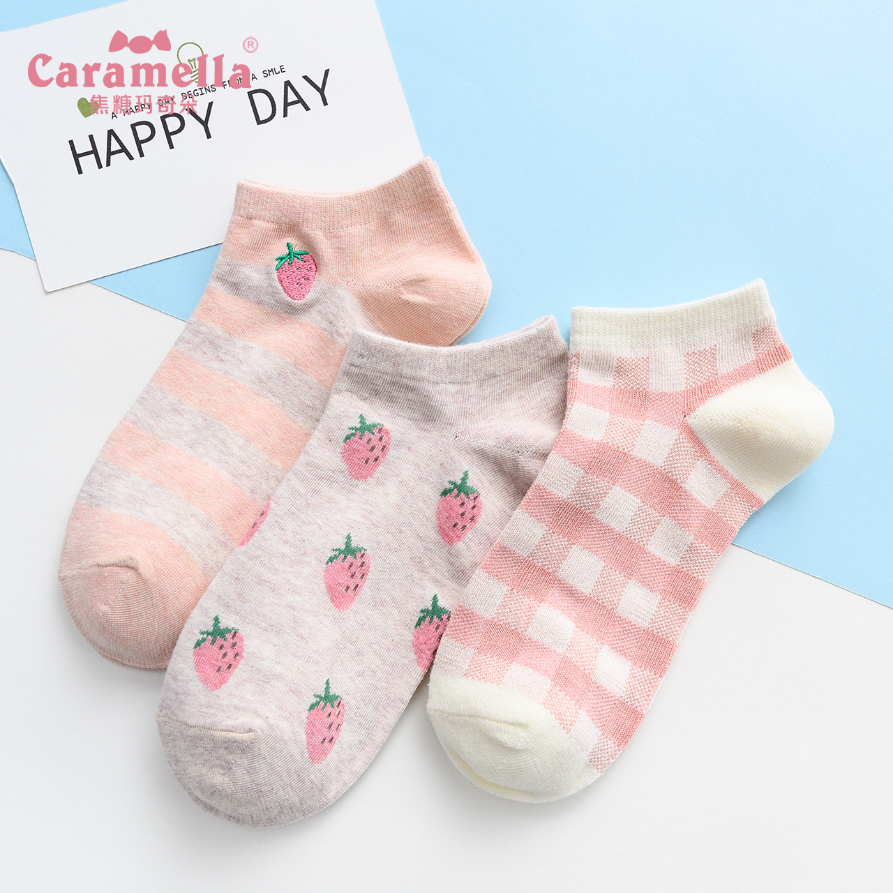 CARAMELLA袜子女短袜浅口春夏女士船袜可爱日系学院风隐形袜棉袜