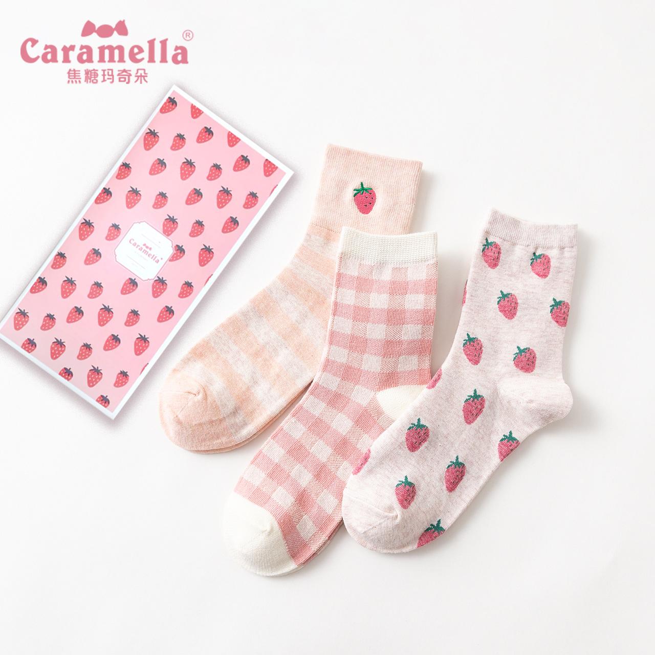 CARAMELLA袜子女秋冬卡通中筒纯棉刺绣草莓韩版学院风日系潮棉袜