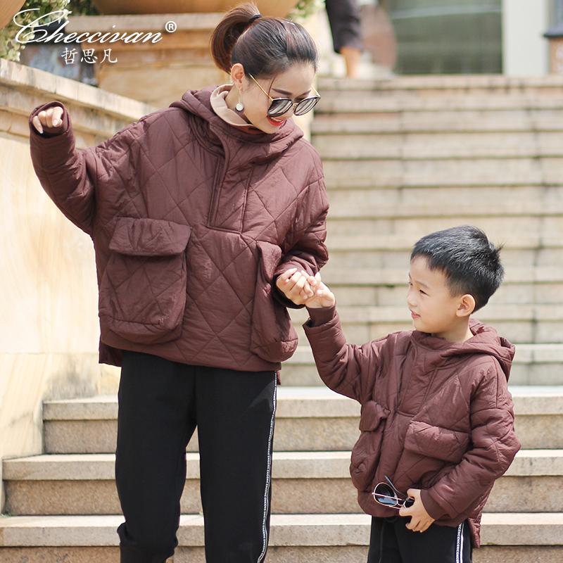 哲思凡亲子装韩版2018新款时髦套装母子母女装冬装大口袋棉服外套