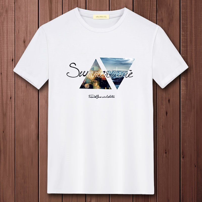 夏季新款男士短袖t恤大码纯棉白色丅上衣服圆领男装半袖潮流体恤