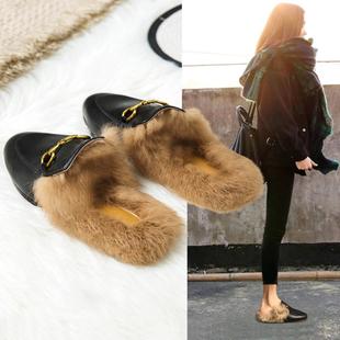 毛毛拖鞋女外穿秋冬穆勒鞋2020新款网红懒人鞋平底兔毛包头半拖鞋图片