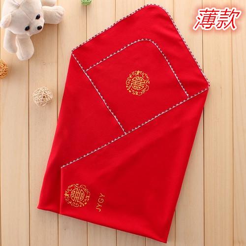 婴儿抱单新生儿大红色纯棉包单满月红色包被出生宝宝红色被单包邮