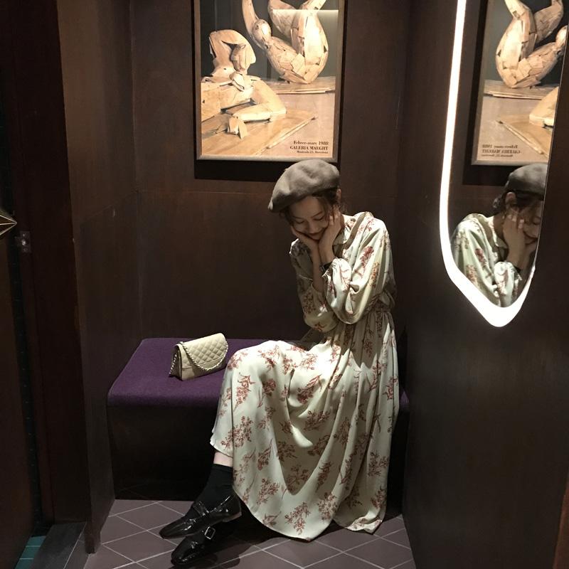 [ELINASEA]小海自制 2018韩国气质温柔印花收腰甜美中长款连衣裙