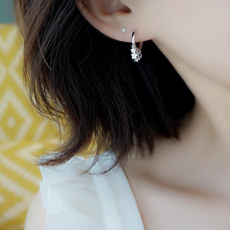 小Z优品925纯银星星耳扣女日系简约五角星星流苏短款耳圈气质耳坠