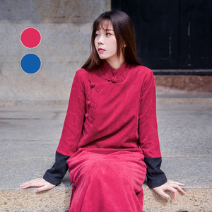Chinese style button buckle corduroy dress tea zen costume art and Republic of China retro women's winter plus size Chinese style Chinese costume