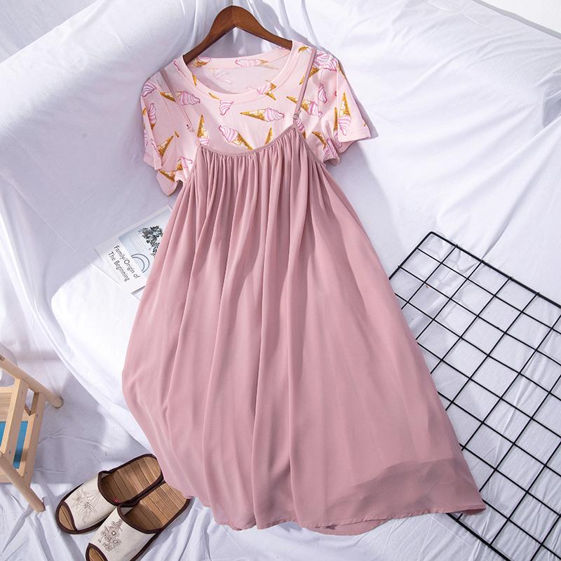 夏季新款韩版甜美冰淇淋印花T恤+雪纺吊带裙连衣裙套装女7642
