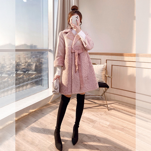 Fur one coat women's 2019 new autumn and winter clothing particle fluff fur grass sheep shearling coat mid-length