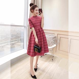 气质女神范衣服秋装2020年女装新款中长款红色裙子轻奢名媛连衣裙图片