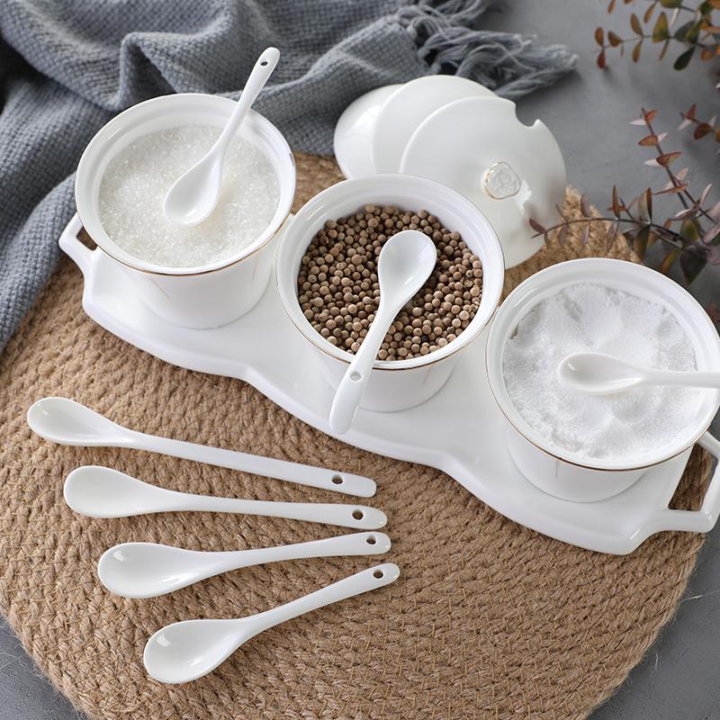 陶瓷咖啡勺子厨房小号调味调料勺短柄小盐勺创意可爱长柄搅拌勺