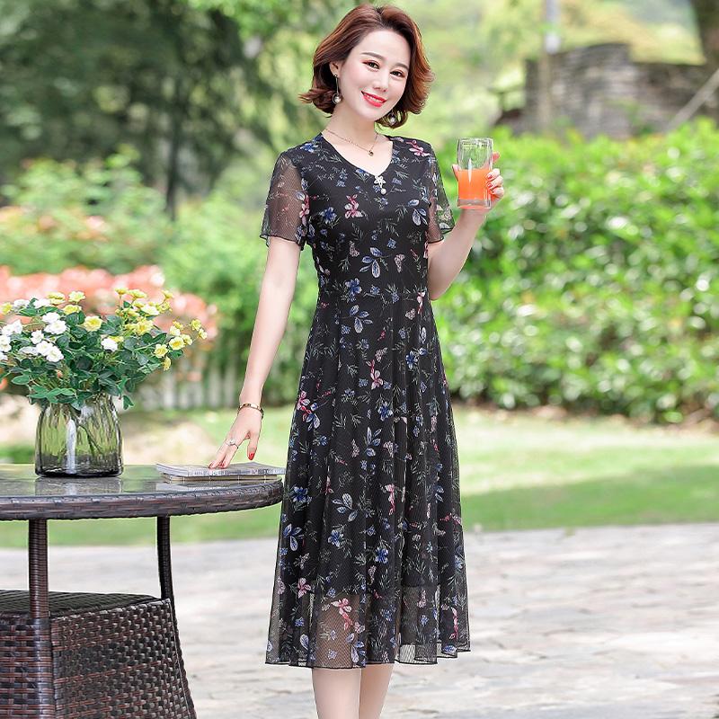 年轻妈妈夏装2020新款40岁中年洋气雪纺连衣裙高贵短袖中长款裙子