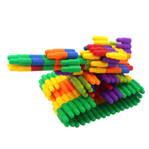 Children's plastic bullets assembled spell insert building blocks 4 years old baby puzzle boys and girls enlighten toys