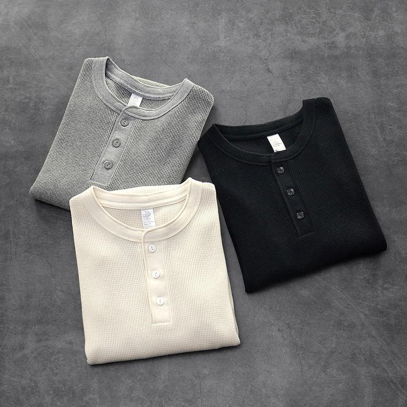 美式复刻350克休闲亨利衫复古重磅TEE高品质华夫格素色长袖T恤男满100元减5元