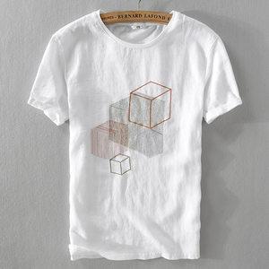 夏季新款男装时尚亚麻立体几何刺绣棉麻拼接个性薄款圆领短袖t恤