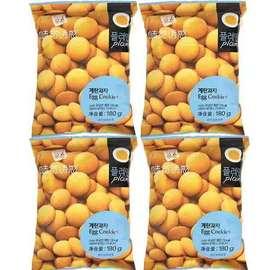 韩国味觉诱惑鸡蛋饼干原味香蕉牛奶味180g*3袋网红零食小圆饼干