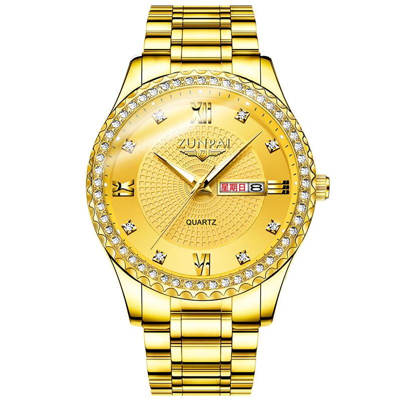 尊派ZUNPAI 时尚潮流男士手表商务日历夜光防水石英表非机械腕表
