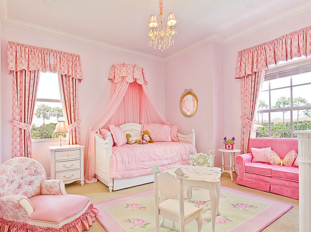 粉紅色的公主風房間是每個女孩都夢寐以求的房間,粉色|兒童房