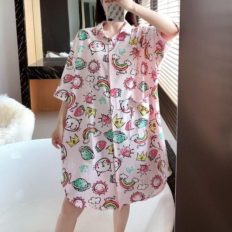 小翻领开衫睡裙女夏纯棉 莱卡韩版七分袖衬衫家居服少女全棉睡衣