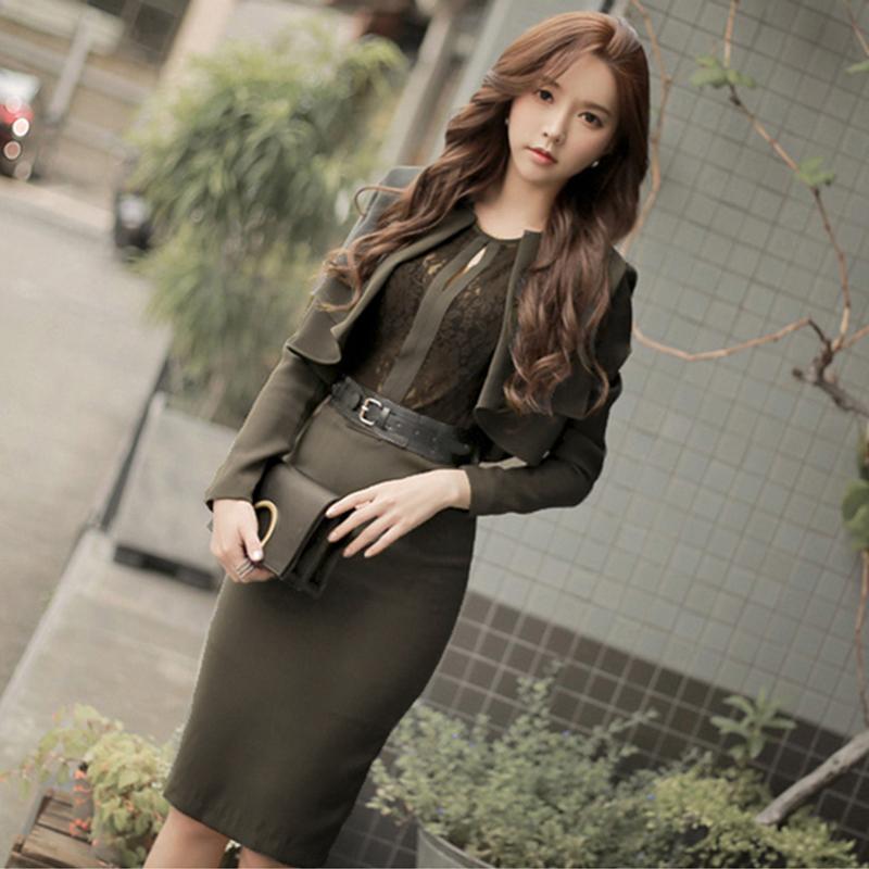 915 2020春装新款韩版通勤职业蕾丝拼接短外套两件套连衣裙配腰带 -