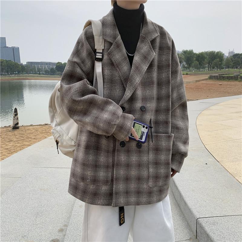 新款冬季毛呢外套呢子格子西装领大衣宽松B287-W802-P110 控138