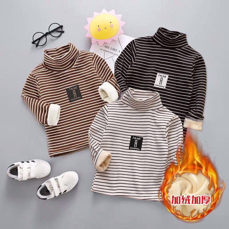 女宝宝加绒打底衫男童加厚高领毛衣儿童冬季洋气保暖内衣条纹上衣