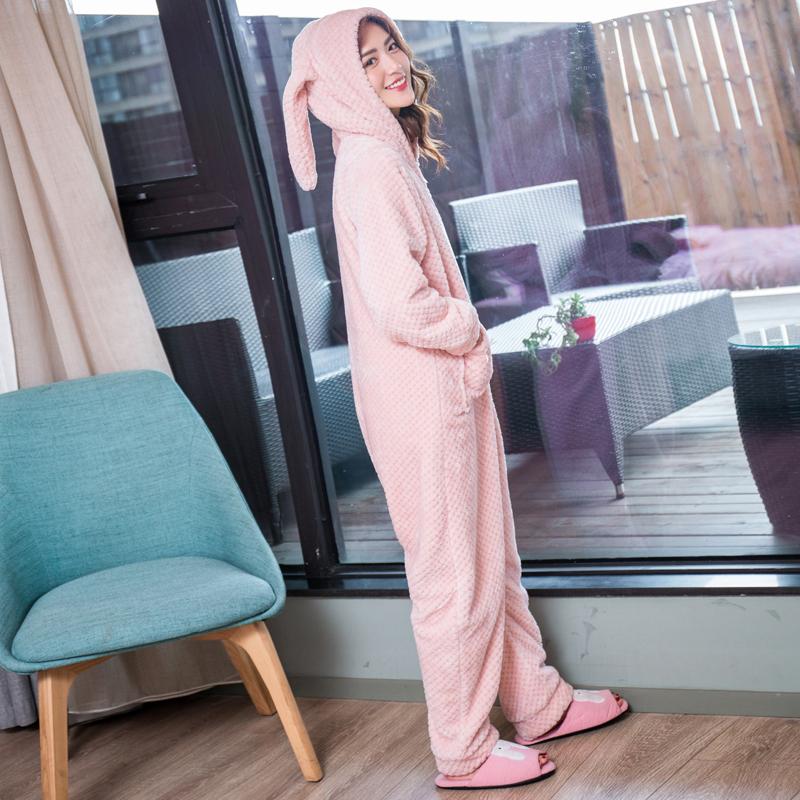 珊瑚绒睡衣女秋冬季可爱卡通女士兔耳朵连体衣家居服加厚保暖套装