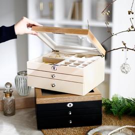 日式首饰盒多层高档耳环项链手饰品收纳盒箱便防尘携带锁木质礼物