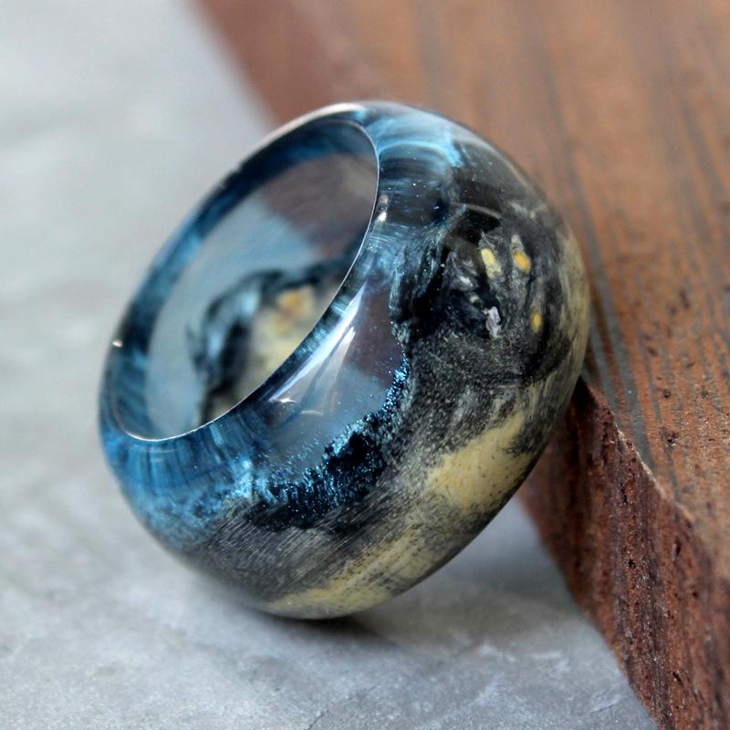 现货68mm 乌克兰设计师SOGD星空木戒指 原创微观手工定制梵高艺术