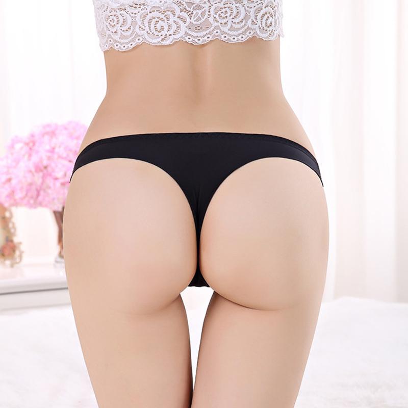 3送1 冰丝一片式无痕丁字裤隐形Tt裤低腰性感情趣内裤诱惑档棉内