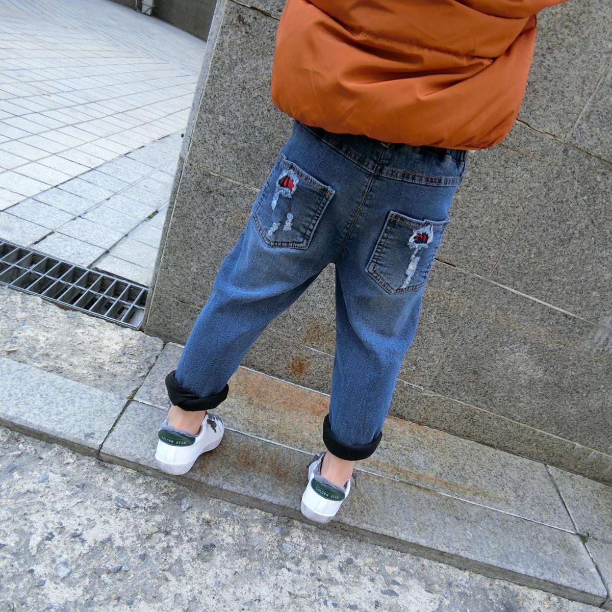 斑斑家儿童男童加绒破洞牛仔裤2017冬新款加厚保暖长裤中大童童装