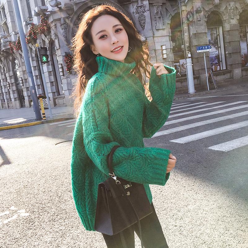 超级推荐!圣诞新年毛衣高领镂空套头毛衣针织衫外穿女韩版长袖