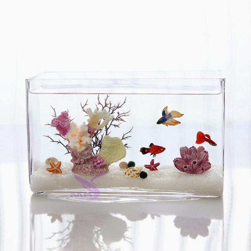 包邮 长方形玻璃鱼缸 斗鱼缸 办公室桌面鱼缸 孔雀鱼缸 一次成型